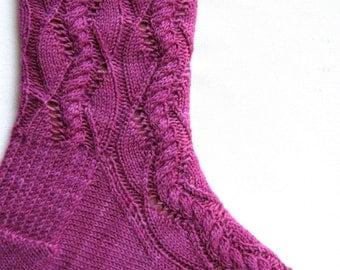 Knit Sock Pattern:  Cable Lace Waves Sock Knitting Pattern