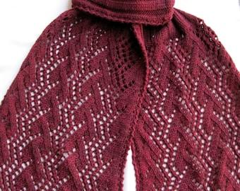 Knit Scarf Pattern:  Trellis Lace Turtleneck Scarf Pattern
