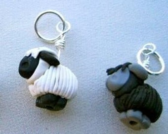 4 Pre-Shorn Sheep Stitch Markers: Flock of Sheep Knitting Stitch Markers