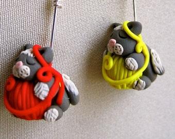4 Sleeping Kitties Stitch Markers:  Sleeping Cats on Yarn Balls Knitting Stitch Markers