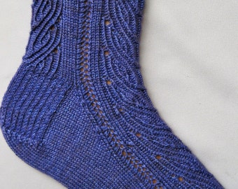 Knit Sock Pattern:  Falling Vine Lace Knitted Sock Pattern