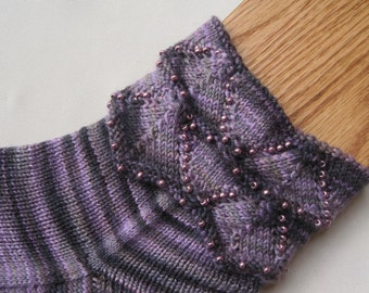 Knit Sock Pattern:  Beaded Cuff Knitted Sock Pattern