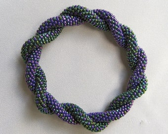 Bead Crochet Pattern:  Basically Bars Intertwined Double Rope Crocheted Bangle