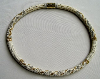 Bead Crochet Necklace Pattern:  Silver Threads and Golden Needles