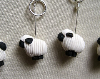 Single Herd of 4 Sheep Knitting Stitch Markers:  Flock of 4 Pre-Shorn Sheep Stitch Markers for Knittng