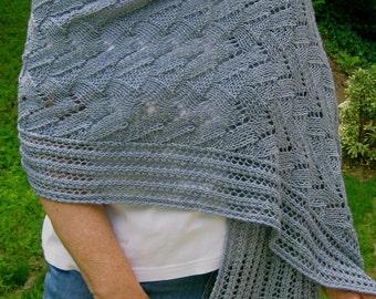 Knit Wrap Pattern:  Lace Wings Shawl Knitting Pattern
