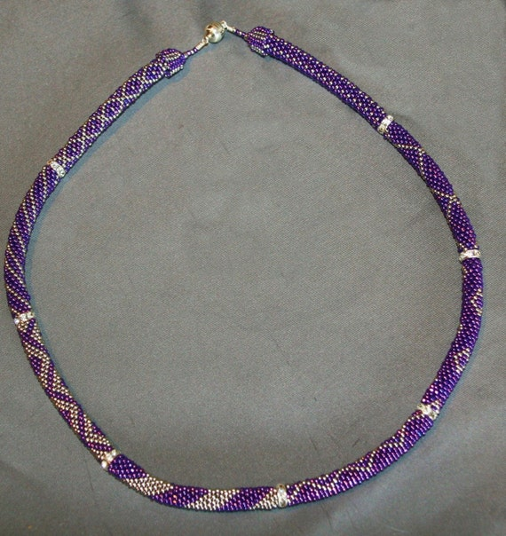 Bead Crochet Necklace Pattern:  8 Section and Rondell Necklace Pattern