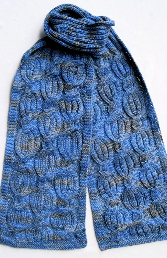 Knit Scarf Pattern: Drop Stitch Cabled Turtleneck Scarf Knitting Pattern