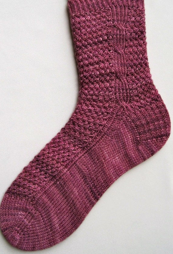 Cable Knit Socks Pattern : Knit Sock Pattern: Twisted Mesh and Side Cable Knitted Sock
