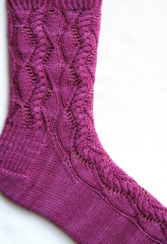 Sock Pattern Knitting : Knit Sock Pattern: Cable Lace Waves Sock by WearableArtEmporium