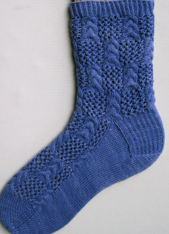 Cable Knit Sock Pattern : Knit Sock Pattern: Triple Stacked Cables and Lace Socks