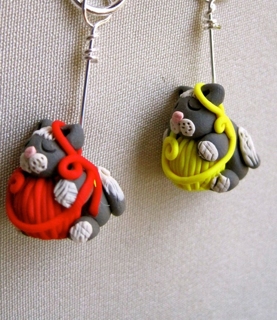 4 Sleeping Kitties Stitch Markers:  Sleeping Cats on Yarn Balls Knitting Stitch Markers