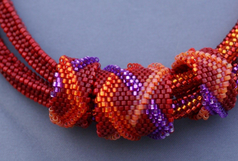 bead weaving pattern peyote tubular rings crossed bar