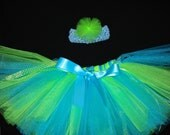 Shimmer Turquoise and green TUTU - FREE Headband- Custom made- Sizes NEWBORN  up to 5T
