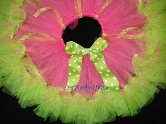 Pink -Green  Petti Tutu- Free  Hairband -Custom  Made- Sizes Newnorn  up to 5T