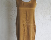 Vintage 80s Gold Silk Tank Dress - large