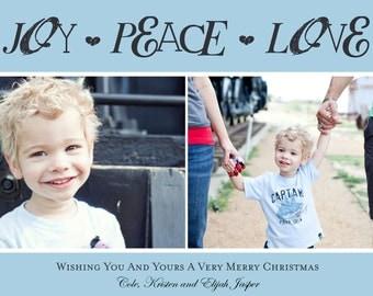 Joy, Peace, Love Photo Christmas / Holiday Card (Digital File)