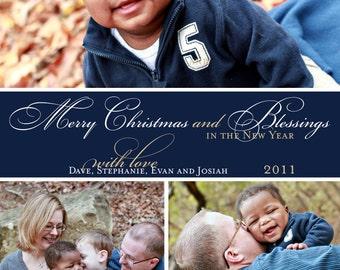 Photo Collage Christmas Card / Birth Announcement / Adoption Announcement (Digital File)