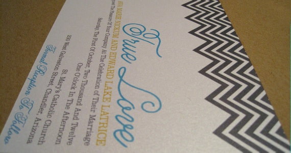 Chevron Love Shimmer Wedding Invitation Suite - Printable