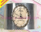 FREE SHIPPING: Backwards Reverse Clock Alice in Wonderland Bracelet Cuff Glass Cabochon Vintage Inspired Setting. Silver AC7