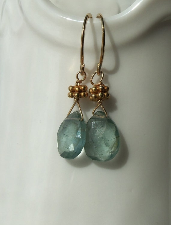 AAA Steely Blue Aquamarine Earrings with 14kt Gold Fill