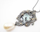 Heart of the Mermaid sea weed  necklace OOAK