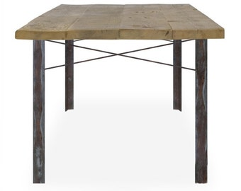 Simple Iron and Wood Reclaimed Dinner Table