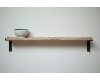 2 CUSTOM Cute Minimal Wall Mount Shelf. Reclaimed Old Growth Wood and Iron
