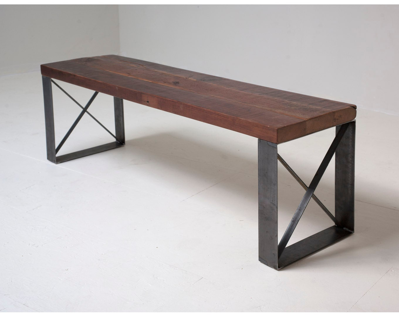 Sleek modern industrial reclaimed bench coffee table for Coffee tables industrial