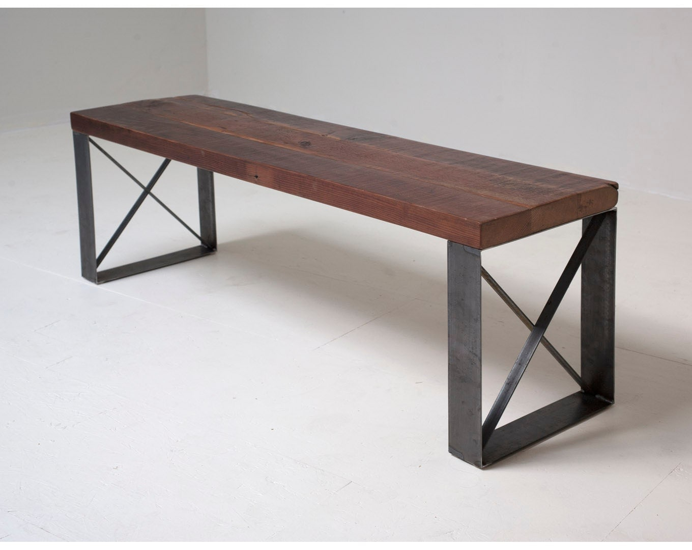 Sleek Modern Industrial Reclaimed Bench Coffee Table
