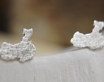 China earrings - sterling silver studs - Adoption earrings