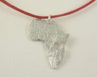 Africa Tanzania  necklace - Heart Tanzinia pendant - Adoption necklace - Collar Africa Tanzania
