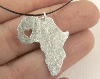 Mali pendant - map of Africa Necklace - Africa pendant  Adoption necklace - Collar áfrica Mali