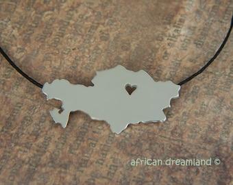 Adoption Jewelry - Kazakhstan Necklace - Personalized pendant - Adoption necklace
