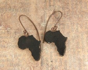 Africa earrings - Clay pendant earrings