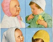 Bestway 3411 Vintage Knitting Pattern Bonnets - Four Patterns for 6 to 12 months