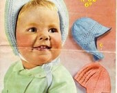 Sirdar Sunshine 62 Vintage Knitting Pattern Bonnets - Three Patterns for New Borns to 6 Months