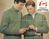 "Emu 4085 Vintage Knitting Pattern Cardigan and Pullover Sweater for Men 36"" - 44"" Chest"