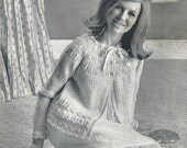 Greenock 431 Vintage Knitting Pattern Quick Knit Bed Jacket and Bed Socks PDF