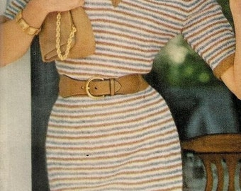 Vogue Knitting 1960 V Neck Narrow Striped Dress Vintage Pattern Retro Mod Mad Men