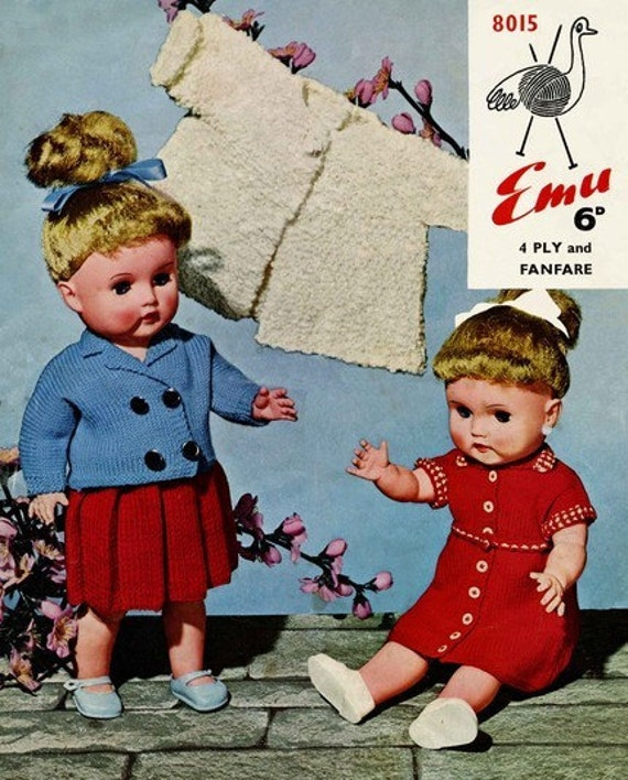 Emu 8015 Vintage Knitting Patterns for 17in Doll - Vest, Knickers, Pleated Skirt, Blazer, Dress and Coat