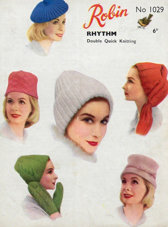 Robin 1029 Vintage Knitting Patterns Seven 60's Mod Mad Men Winter Hat and Glove Patterns