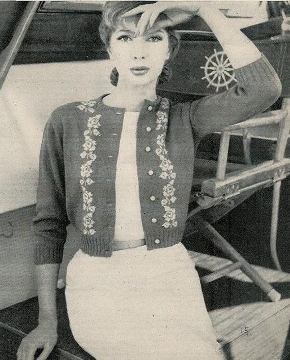 Vogue Knitting 1960 Classic Cardigan Bracelet Length Sleeve Pattern Retro Mod Mad Men