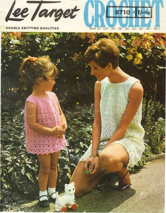 Lee Target 8710 Vintage Crochet Pattern - Ladies Crochet Dress with Yoke 22 - 38 in Bust