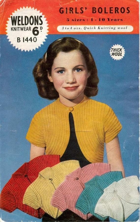 Weldons B1440 Vintage Knitting Pattern Girls Bolero Sweater Five Sizes