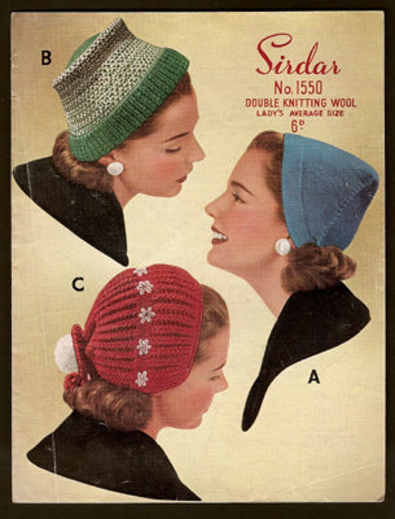 Knitting Pattern Vintage Hat : Sirdar 1550 Vintage Knitting Patterns by vintagemadamedefarge