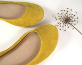 Sunflower Yellow Soft Leather Handmade Ballet Flats