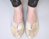Oxfords Shoes in Soft Rose Gold Leather and Ruffled Ballet Flats Handmade Shoes Ballerinas - Reserved for Kathleen