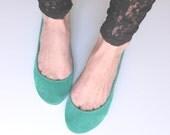 Aqua Green, Deep Blue, Geranuim and Sand Suede Handmade Ballerinas - Reserved for Anna