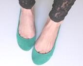 Emerald Aqua Green Suede Handmade Ballet Flats - elehandmade